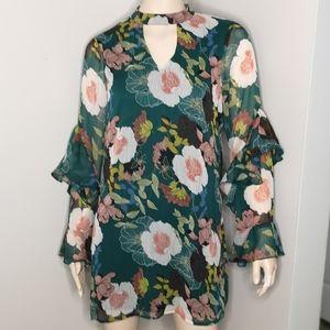 As U Wish Floral Keyhole Flounce Sleeve Dress